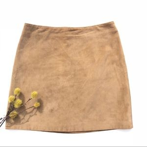 Banana Republic Tan 100% Leather Suede Skirt 6
